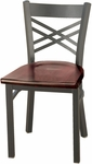 3300 Series Square Steel Frame Armless Cafe Chair with Contoured X-Shaped Back and Wood Seat [3310-WOOD-IFK]