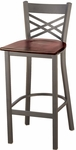 3300 Series Square Steel Frame Armless Cafe Barstool with X-Shaped Back and Wood Seat [BR3310-WOOD-IFK]