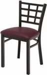 3300 Series Square Steel Frame Armless Cafe Chair with Contoured Grid Shaped Back and Upholstered Seat [3312-IFK]