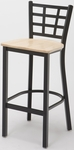 3300 Series Square Steel Frame Armless Cafe Barstool with Grid Shaped Back and Wood Seat [BR3312-WOOD-IFK]