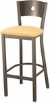 3315A Series Square Steel Frame Armless Cafe Barstool with Contoured Wood Back and Upholstered Seat [BR3315A-IFK]