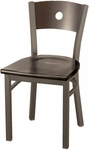 3300 Series Square Steel Frame Armless Cafe Chair with Contoured Wood Back and Wood Seat [3315A-WOOD-IFK]