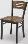 3300 Series Square Steel Frame Armless Cafe Chair with Contoured Wood Design Back and Wood Seat [3315B-WOOD-IFK]