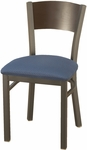 3300 Series Square Steel Frame Armless Cafe Chair with Solid Contoured Wood Back and Upholstered Seat [3315C-IFK]