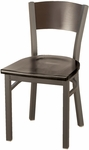3300 Square Steel Frame Armless Cafe Chair with Solid Contoured Wood Back and Wood Seat [3315C-WOOD-IFK]