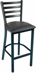 3316 Series Square Steel Frame Armless Cafe Barstool with Contoured Metal Ladder Back and Upholstered Seat [BR3316-IFK]