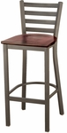 3316 Series Square Steel Frame Armless Cafe Barstool with Contoured Metal Ladder Back and Wood Seat [BR3316-WOOD-IFK]