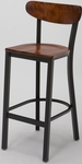 3319K Series Square Steel Frame Armless Cafe Barstool with Curved High Wood Back and Wood Seat [BR3319K-WOOD-IFK]
