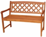 Outdoor Oil Treated Asian Hardwood Lattice X-Back Bench with Arms - Oak Finish [BE-53923-FS-WHT]