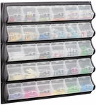 34'' W x 5.25'' D x 33'' H Thirty Pocket Panel Bins with Spring Loaded Covers - Black and Clear [6111BL-FS-SAF]
