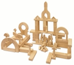 340 Piece Hand-Sanded Solid Hardwood Building Block Set - Uniform 1.25''W [ELR-081-ECR]