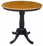 Solid Wood 2 In 1 Convertible 36'' Diameter Pedestal Dining Table - Black and Cherry [K57-36RT-6B-FS-WHT]