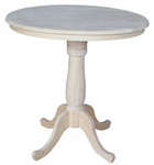 Butcher Block Top Solid Wood 36'' Diameter Pedestal Dining Table with Extension Base - Unfinished [K-36RT-6B-FS-WHT]
