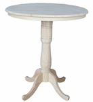 Butcher Block Top Solid Wood 36'' Diameter Pedestal Dining Table with Two 6'' Extension Base - Unfinished [K-36RT-6B-2-FS-WHT]