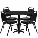 36'' Round Black Laminate Table Set with Black Trapezoidal Back Banquet Chairs, Seats 4 [REST-001-BK-BK-FS-TDR]