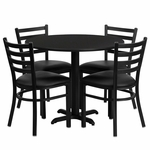 36'' Round Black Laminate Table Set with Ladder Back Metal Chair and Black Vinyl Seat, Seats 4 [REST-008-BK-BK-FS-TDR]