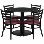 36'' Round Black Laminate Table Set with Ladder Back Metal Chair and Burgundy Vinyl Seat,Seats 4 [REST-012-BG-BK-FS-TDR]