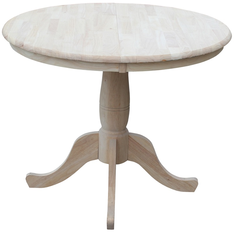 Solid wood 36 39 39 diameter round extension dining table with for Round wood table with leaf