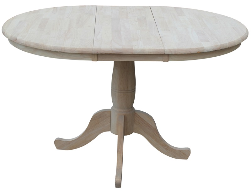 Solid wood 36 39 39 diameter round extension dining table with for Solid wood round dining table with leaf