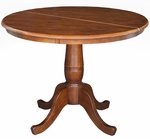 Butcher Block Solid Wood 36'' Diameter Round Extension Dining Table with 12'' Leaf - Espresso [K581-36RXT-FS-WHT]