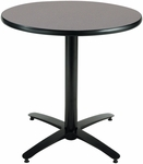36'' Round Laminate Pedestal Table with Graphite Nebula Top - Black Arch X-Base [T36RD-B2125-GPN-IFK]