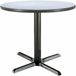 36'' Round Laminate Pedestal Table with Grey Nebula Top - Black Arch X-Base [T36RD-B2025-GN-IFK]