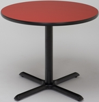 36'' Round Laminate Pedestal Table with Holly Berry Top - Black X-Base [T36RD-B2025-HOLLYBERRY-IFK]