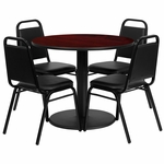 36'' Round Mahogany Laminate Table Set with Black Trapezoidal Back Banquet Chairs,Seats 4 [REST-011-BK-MAH-FS-TDR]