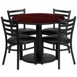 36'' Round Mahogany Laminate Table Set with Ladder Back Metal Chair and Black Vinyl Seat, Seats 4 [REST-018-BK-MAH-FS-TDR]