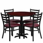 36'' Round Mahogany Laminate Table Set with Ladder Back Metal Chair and Burgundy Vinyl Seat, Seats 4 [REST-002-BG-MAH-FS-TDR]