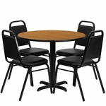 36'' Round Natural Laminate Table Set with Black Trapezoidal Back Banquet Chairs,Seats 4 [REST-001-BK-NAT-FS-TDR]