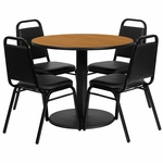 36'' Round Natural Laminate Table Set with Black Trapezoidal Back Banquet Chairs, Seats 4 [REST-011-BK-NAT-FS-TDR]