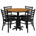 36'' Round Natural Laminate Table Set with Ladder Back Metal Chair and Black Vinyl Seat, Seats 4 [REST-008-BK-NAT-FS-TDR]