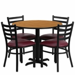 36'' Round Natural Laminate Table Set with Ladder Back Metal Chair and Burgundy Vinyl Seat, Seats 4 [REST-002-BG-NAT-FS-TDR]