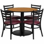36'' Round Natural Laminate Table Set with Ladder Back Metal Chair and Burgundy Vinyl Seat, Seats 4 [REST-012-BG-NAT-FS-TDR]