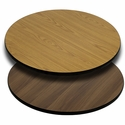 36'' Round Table Top with Reversible Natural or Walnut Laminate Top