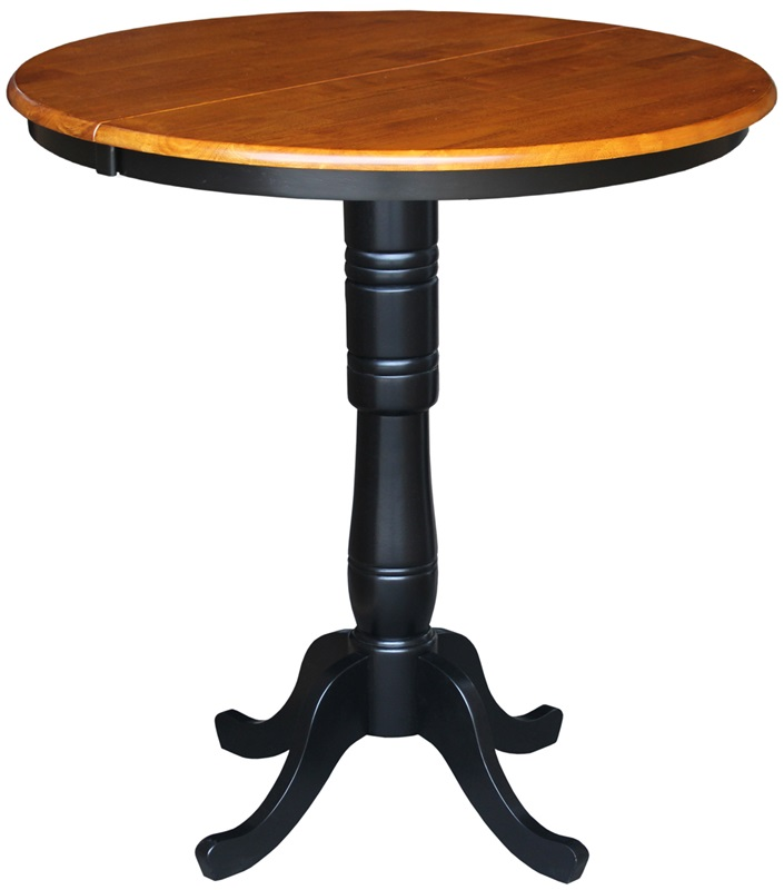Solid wood 36 39 39 diameter bar height pedestal dining table for Black round dining table with leaf