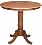 Solid Wood 36'' Diameter Counter Height Pedestal Dining Table with 12'' Leaf - Cinnamon and Espresso [K58-36RXT-6B-FS-WHT]