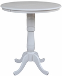 Solid Wood 36'' Diameter Bar Height Pedestal Dining Table with 12'' Leaf - Linen White [K31-36RXT-6B-2-FS-WHT]