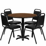 36'' Round Walnut Laminate Table Set with Black Trapezoidal Back Banquet Chairs, Seats 4 [REST-001-BK-WAL-FS-TDR]