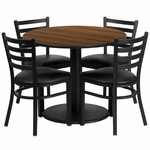 36'' Round Walnut Laminate Table Set with Ladder Back Metal Chair and Black Vinyl Seat, Seats 4 [REST-018-BK-WAL-FS-TDR]