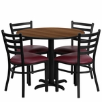36'' Round Walnut Laminate Table Set with Ladder Back Metal Chair and Burgundy Vinyl Seat, Seats 4 [REST-002-BG-WAL-FS-TDR]