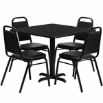 36'' Square Black Laminate Table Set with Black Trapezoidal Back Banquet Chairs, Seats 4 [REST-003-BK-BK-FS-TDR]