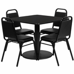 36'' Square Black Laminate Table Set with Black Trapezoidal Back Banquet Chairs,Seats 4 [REST-013-BK-BK-FS-TDR]