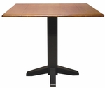 Butcher Block Top Solid Parawood 36''W X 30''H Square Dual Drop Leaf Dining Table - Black and Cherry Top [T57-36SDP-FS-WHT]