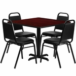 36'' Square Mahogany Laminate Table Set with Black Trapezoidal Back Banquet Chairs, Seats 4 [REST-003-BK-MAH-FS-TDR]