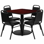 36'' Square Mahogany Laminate Table Set with Black Trapezoidal Back Banquet Chairs, Seats 4 [REST-013-BK-MAH-FS-TDR]
