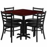 36'' Square Mahogany Laminate Table Set with Ladder Back Metal Chair and Black Vinyl Seat,Seats 4 [REST-004-BK-MAH-FS-TDR]