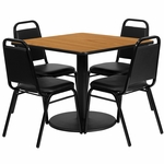 36'' Square Natural Laminate Table Set with Black Trapezoidal Back Banquet Chairs, Seats 4 [REST-013-BK-NAT-FS-TDR]