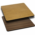 36'' Square Table Top with Reversible Natural or Walnut Laminate Top